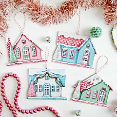 vintage inspired cardboard (putz) house ornaments (holiday_jenny) Tags: christmas pink holiday chihuahua tree cute art pancakes vintage silver painting hair gold cupcakes aqua handmade pastel packing paintings newyear retro pizza gifts ornaments bakery donuts icecream tinsel kawaii decor merrychristmas makers macarons ornies everydayisaholiday