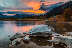 Patience- October 16, 2016 (zachary.locks) Tags: 3rd ab alberta autumn banff calm canada capped changing colors cy365 down fall foreground lake lakes leaves mountains national park patience patient peaceful rockies rocks slow snow still sunset third vermillion waiting zlocks water reflection colorfu clouds light up