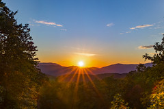 Mountains Cradling the Sun (Omni-Photography) Tags: mountainside mountaintop peak foothill great smoky mountain national park sun sunset sunrise hdr landscape