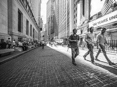 More people watching (C@mera M@n) Tags: blackandwhite city citylife financialdistrict manhattan monochrome ny nyc newyork newyorkcity people places urban wallstreet wideangle outdoors peoplewatching urbanlife