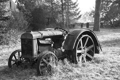 Retired Work Horse - 1 May Valley BW (Don Thoreby) Tags: mayvalley mayvalleywashingtonstate horsefarms farms barns mayvalleyhighway squakmountain autumn fall tractors farmingequipment oldtractor vintagetractor hayrake squakmountainnursery fallcolors mapletrees countrylane vintage weathered derelict rustic