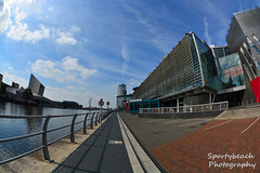Lowry theatre (jonnywalker) Tags: salfordquays mediacityuk manchester salford quays lowryoutletmall waterfront lowrytheatre imperialwarmuseumnorth iwmn footbridge greatermanchester manchestershipcanal mediacityfootbridge fisheye