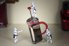 Stormtroopers and the French Coffee Press (Eugene Lagana) Tags: star wars storm troopers stormtrooper coffee french press rent red nikon macro comedy surrealistic surrealism george lucas fun toys toy plastic hero caffeine caf cup mug its drink caffeinated java wired surreal