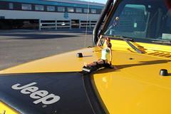 Monroe County FL Jeep with doll hood ornament (EllenJo) Tags: jeep itsajeepthing yellowjeep monroecountyfloridaplates redkayak barbiedoll fashiondoll hoodornament wacky verdecanyonrailroaddepot clarkdale arizona az october20 2016 ellenjo