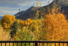 balloon by front deck in fall (maryannenelson) Tags: hotairballoon colorado fall durango animasvalley colors autumn landscape