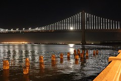 San Francisco Bay Bridge (bigsassysmurf) Tags: sanfranciscobaybridge lights fullmoon