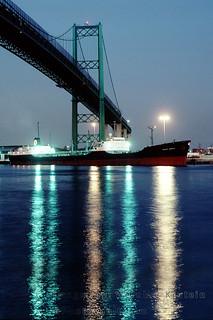 Vincent Thomas Bridge and Oil Tanker Texaco Georgia