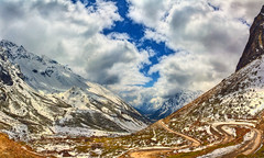 Yumthang Valley (Anirban.243) Tags: sikkim valley himalaya ice frozen cloud panora panorama hdr road winding canon india morning blue sky snow grass rock sunlight
