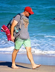 Man with red towel (LarryJay99 ) Tags: men male man guy guys dude dudes walking barfuss barefoot toes legs hairylegs hairyman hairy facialhair redcap cap urbanbackpacker backpacker person hotdude virile stud studly candid unsuspecting pedestrian lakeworth florida beach shorts shoreline seashore atlanticocean