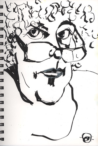 Self portrait with calligraphy pen