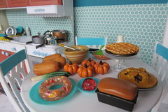 4. Preparations (Foxy Belle) Tags: doll vintage kitchen diorama barbie playscale 16 holiday dollhouse room scene food thanksgiving autumn fall table pies