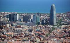Barcelona skyline  with a view of the Torre Agbar (nick taz) Tags: barcelona torreagbar
