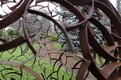 Rust Belt resident (Brendan Adkins) Tags: pittmanadditionhydropark jory fujifilmx100t iforgottogetthenameofthissculpture itwascoolthough rust sphere sculpture lattice