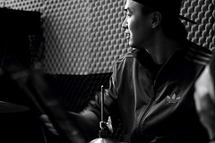Jazz Drummer (Robert Borden) Tags: bw world asia china sichuan chengdu sichuanconservatory portrait people jazz drummer music musician drumset