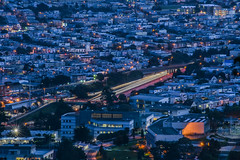 blue hour at city college (pbo31) Tags: sanfrancisco california nikon d810 color november 2016 fall boury pbo31 city urban bayarea mtdavidson view over rooftops night dark lightstream traffic roadway motion citycollege bluehour blue highway 280 oceanavenue oceanview ingleside