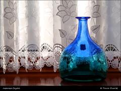 Japanese Crystal P1040377 (Trevor Durritt) Tags: ©trevordurritt panasoniclumixg3 panasoniclumix1442mm availablelight m43 microfourthirds crystal vase blue green glass