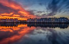 Burning Sunset (Explored 27-11-2016) (mcalma68) Tags: sunset houten netherlands landscape architecture reflections clouds