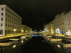 Boats in Canal Grande, night in Trieste, Italy (Paul McClure DC) Tags: trieste italy italia nov2016 trst friuliveneziagiulia historic architecture scenery