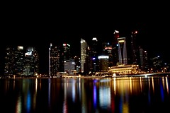 Singapore (Sarah Marston) Tags: singapore marinabay sony alpha a65 november 2016 lights reflections jubileebridge
