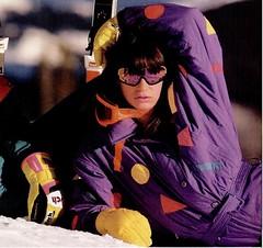 22 (onesieworld) Tags: ski bunny fashion sport one outfit shiny babe suit 80s brunette piece nylon catsuit snowsuit onesie