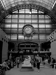 Musee d'Orsay (oxfordblues84) Tags: people blackandwhite bw woman paris france building clock museum architecture europe tourist artmuseum museedorsay trainshed railroadstation 5photosaday roadscholar roadscholartour formerrailroadstation