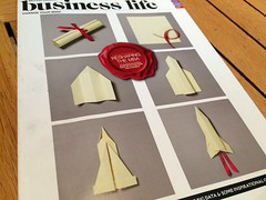 """Having lunch in the BA lounge at Gatwick, admiring @KyleBean's work on the front of """"Business Life"""" magazine."""