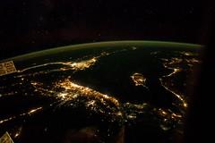 Bright Middle-East (sjrankin) Tags: lebanon night turkey stars lights israel edited palestine egypt middleeast cities cyprus nasa jordan citylights syria saudiarabia iss mediterraneansea gaza airglow iss041 2october2014 iss041e45771