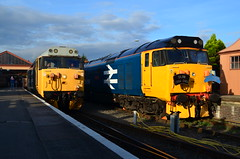 Two BR big logo Class 50s with snowploughs sitting at Kidderminster as the sun goes down over Worcestershire - 03/10/14 (82A Photography) Tags: blue english electric whistler big track br slim diesel champion neil railway loco class atlantic severn valley western hoover valiant 40 morgan thrash conveyor 50 55 gala snowploughs pilgrim 52 defiance hydraulic maybach gwr arley kidderminster bridgnorth deltic bewdley d1015 highley indomitable wizzo 40106 alycidon 50015 50049 d9009 50026