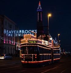 Trawler heads for Pleasure Beach loop (Nigel Gresley) Tags: sunset tower seaside fireworks balloon illuminated frigate trams blackpool trawler 701