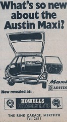 1969 ADVERT THE NEW AUSTIN MAXI  - HOWELLS OF  RINK GARAGE MERTHYR TYDFIL (Midlands Vehicle Photographer.) Tags: new 1969 austin garage advert rink howells maxi merthyr the tydfil of