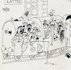 Albert Dubout Album 1944  cartoon le train est complet   b
