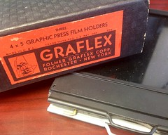 ...and now it can begin. (Paradephoto) Tags: white black color film vintage dark graphic cut antique large slide super 4x5 crown medium format holder graflex