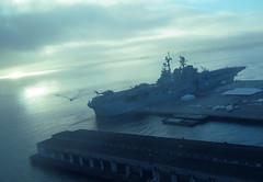 USS America (shaire productions) Tags: ocean sf sanfrancisco sea urban water fog boat ship foggy picture photograph sfbayarea docked fleetweek imagery freighter ussamerica navyship amphibiousassaultship