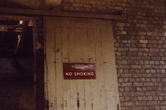 19850808 004 Radlett. Midland Railway Goods Shed Door Detail. BR(M) Enamel No Smoking (15038) Tags: sign br trains signage nosmoking railways britishrail radlett midlandrailway goodsshed