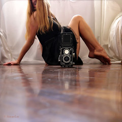 The Rolleiflex ... (MargoLuc) Tags: camera morning light portrait woman sunlight white black texture me window girl backlight analog rolleiflex self vintage reflections hair square golden wooden soft long dress floor natural legs silk style short blonde curtains romantic athome dreamy lovely elegant satin inspiring selfie