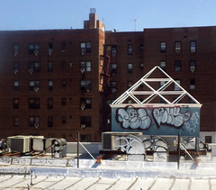 """Rec""? (Robert S. Photography) Tags: nyc colour building art rooftop wall brooklyn train graffiti view samsung elevated 2014 st150f"