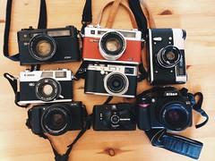 slr 35mm rangefinder olympusxa2 fed5b digitalcameras yashicaelectro35gs yashicaelectro35gtn filmcameras canonql19 nikond40 fujifilmx100 fujifilmxa1