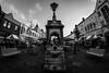 Market Town (newton.nichola) Tags: street blackandwhite slr monument fountain canon landscape town market centre fisheye loughborough samyang