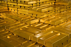 Gold bars (kim_zhai) Tags: yellow metal closeup bar gold treasure rich bank nobody row stack safety luck heavy success luxury investment currency banking wealth finance bullion federalreserve ingot groupofobjects