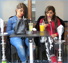 `1198 (roll the dice) Tags: london londonist kensingtonchelsea sw1 sw7 brompton knightsbridge sexy pretty dark girls muslim uk art classic reaction urban unaware unknown couple strangers collection candid portrait drinks pipe denim tourists fashion ripped mad funny hookah narghile shisha culture smoker religion bible hose table cafe lunch mobile phone natural arab hookers makeup clown happy smile emotion talk people smoke chest boobs juice canon tourism