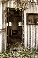 THE PARTY IS OVER (akahawkeyefan) Tags: door abandoned window television trash weeds iowa trailer trashed davemeyer