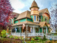 Colorful Victorian transformed with Topaz Impression VAN GOGH I (mharrsch) Tags: house home architecture oregon victorian drain frame twostory mharrsch charlesdrain
