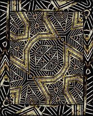 Geometric Tribal Golden Pattern Print (Daniel Ferreira-Leites) Tags: geometric golden vibrant decorative deluxe indian digitalart tribal ornament ethnic primitive abstractgeometric