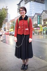 Elizabeth. (Daifuku Sensei) Tags: portrait toronto girl smiling glasses downtown pretty elizabeth stranger queenstreet spadinaavenue fujifinepixx100 banderaca