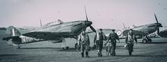 Hurricane Spitfire and Crew (reenactors).jpg (NeilCastle) Tags: hurricane duxford spitfire reenactors 2014 duxfordairshow agedcolor