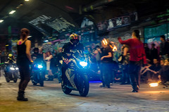 and bikers (vipmig) Tags: light people london art bike night fire graffiti colours bright crowd meeting tunnel southbank entertainment blast bikers motobike firespinners