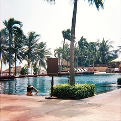 Poolside (MellySparkles) Tags: blue trees pool palm vietnam diana da waters nang