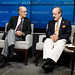 President Strobe Talbott talks to Rep. Eliot Engel, ranking member of the House Foreign Affairs Committee on U.S.- India Relations