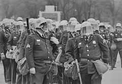 Police CDU Wait to Clear Antiwar Encampment: Mayday 1971 (washington_area_spark) Tags: park 2 west march 1971 dc washington concert war day traffic protest may police down vietnam demonstration civil potomac government block mass tribe mayday disobedience arrest picket shut indochina sitin