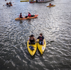Kayak Couple (dachshund47) Tags: sanfrancisco water yellow boats couple kayak stadium cove sfgiants worldseries mccoveycove 2014 attpark